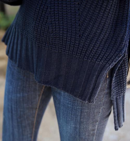 Funnel Neck Rib Knit Pullover