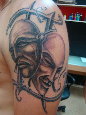 Theatre Mask Tattoo