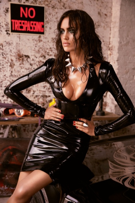Irina Shayk wearing sexy leather outfit in GQ Russia