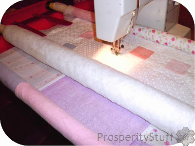 ProsperityStuff FMQ quilt back & top rolled on quilt frame
