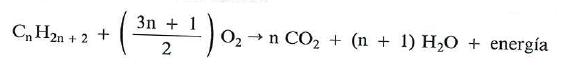 reacciones de combustion de los alcanos
