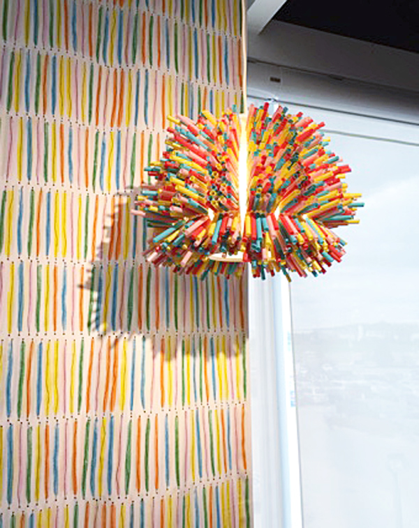 straw lighting, light made of straws, IKEA design & dine event