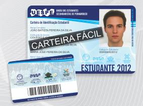 CARTEIRA DE ESTUDANTE 2012 PE, PB, CE, RE