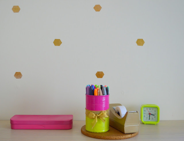 upgrade your office supplies with a little bit of spray paint