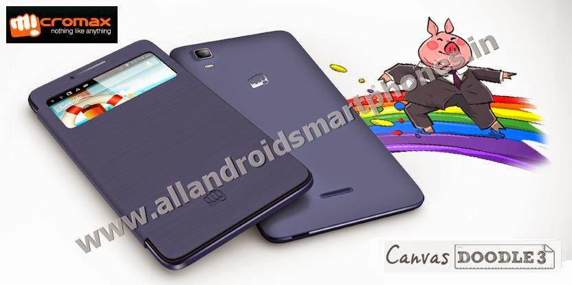 Micromax A102 Canvas Doodle 3 Android Phablet Blazing Blue Color Front Back Side Magnetic Flip Cover Images Photos Review