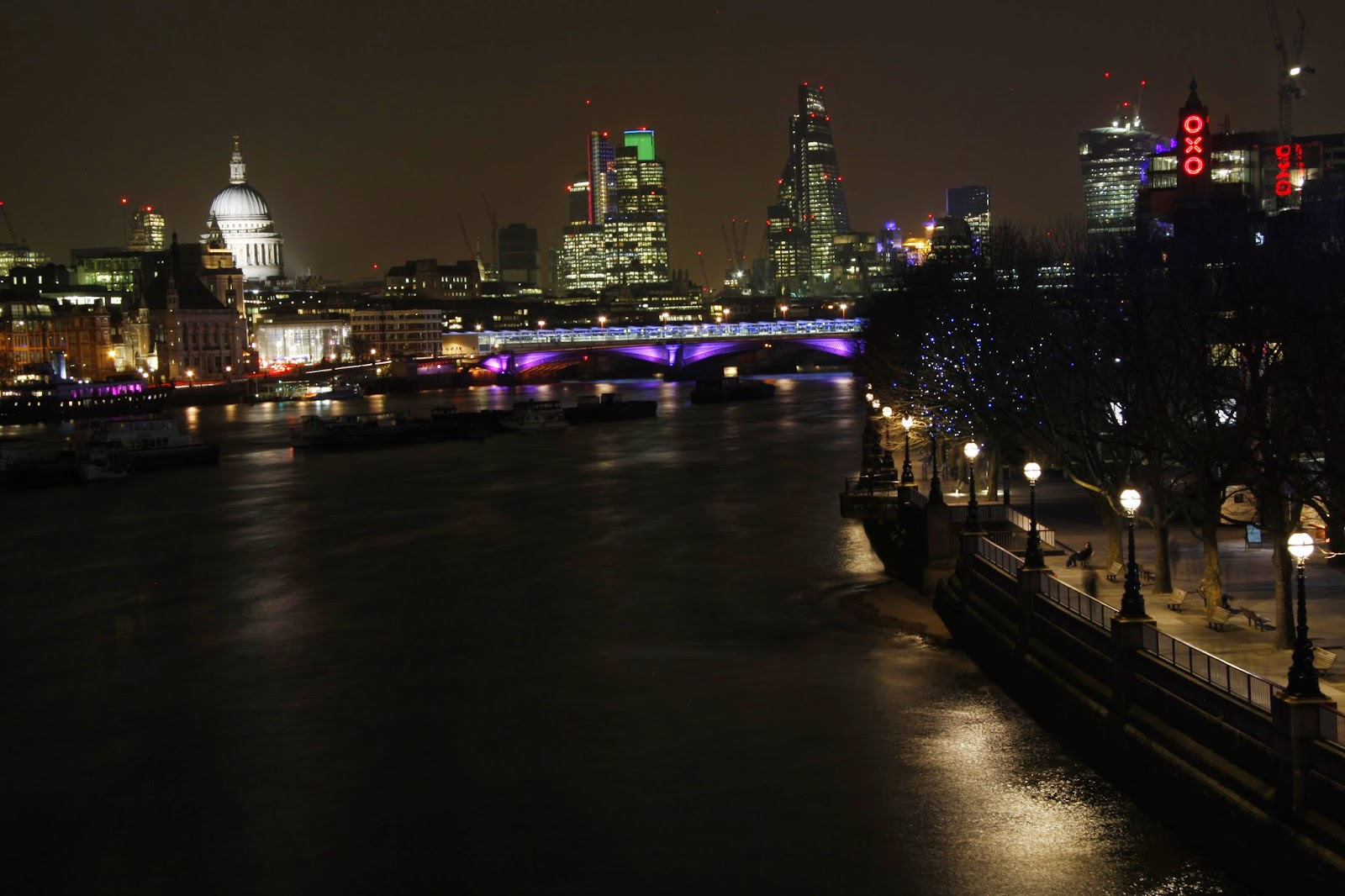 London at Night from Waterloo Bridge