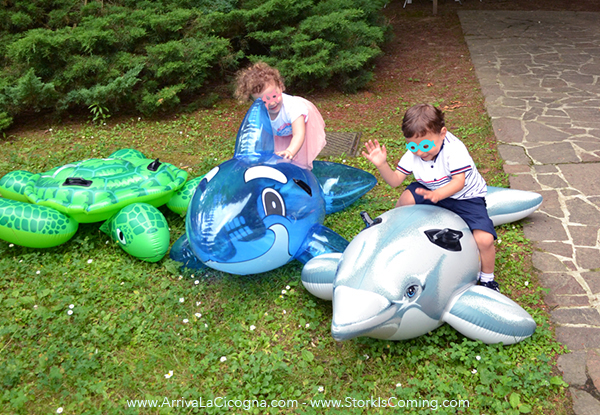 inflatable fish and turtle at underwater party