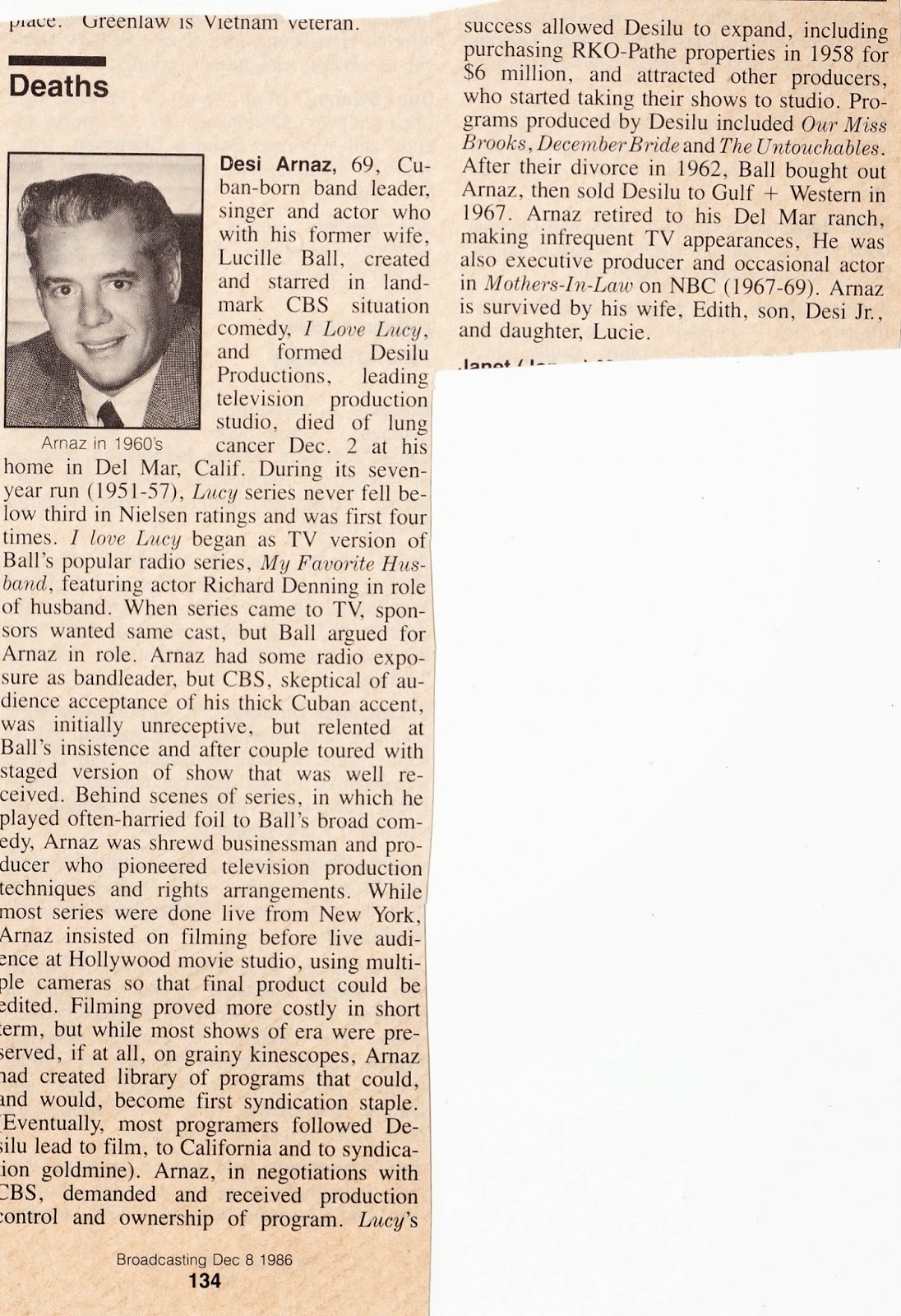 Lucy Archives Desi Arnaz Dies In His Daughter S Arms 1986
