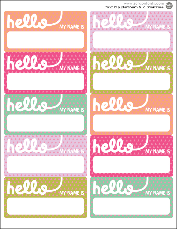 Fontaholic FREEBIE FRIDAY Hello Name Tags - Cupcake name tag template