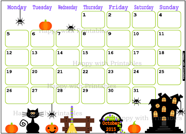October 2015, calendar, cute calendar - planner for kids, Happy with printables, kawaii, printables, halloween calendar
