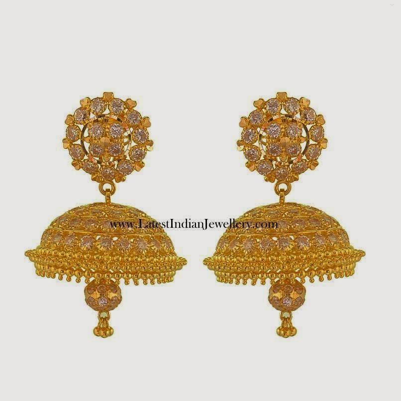 Gold CZ jhumki earrings