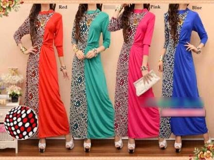 Polka Dots Design One Piece Jubah Dress