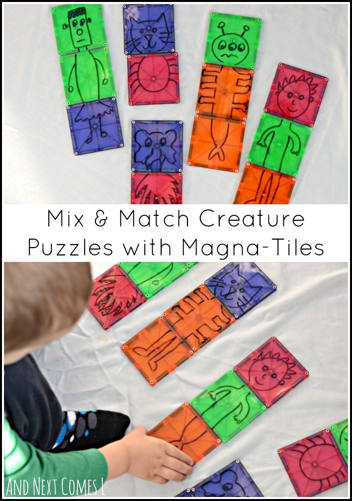Mix and match creature puzzles using Magna-Tiles are a silly way for toddlers and preschoolers to play on or off of the light table from And Next Comes L
