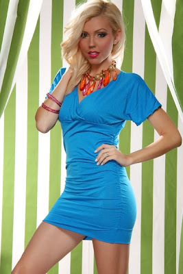 BLUE CROSS V NECK SHORT SLEEVES RUCHED MINI DRESS