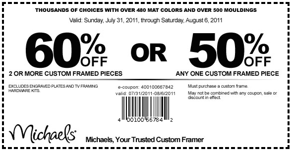Michaels coupons september 2011 for Michaels craft store coupons printable