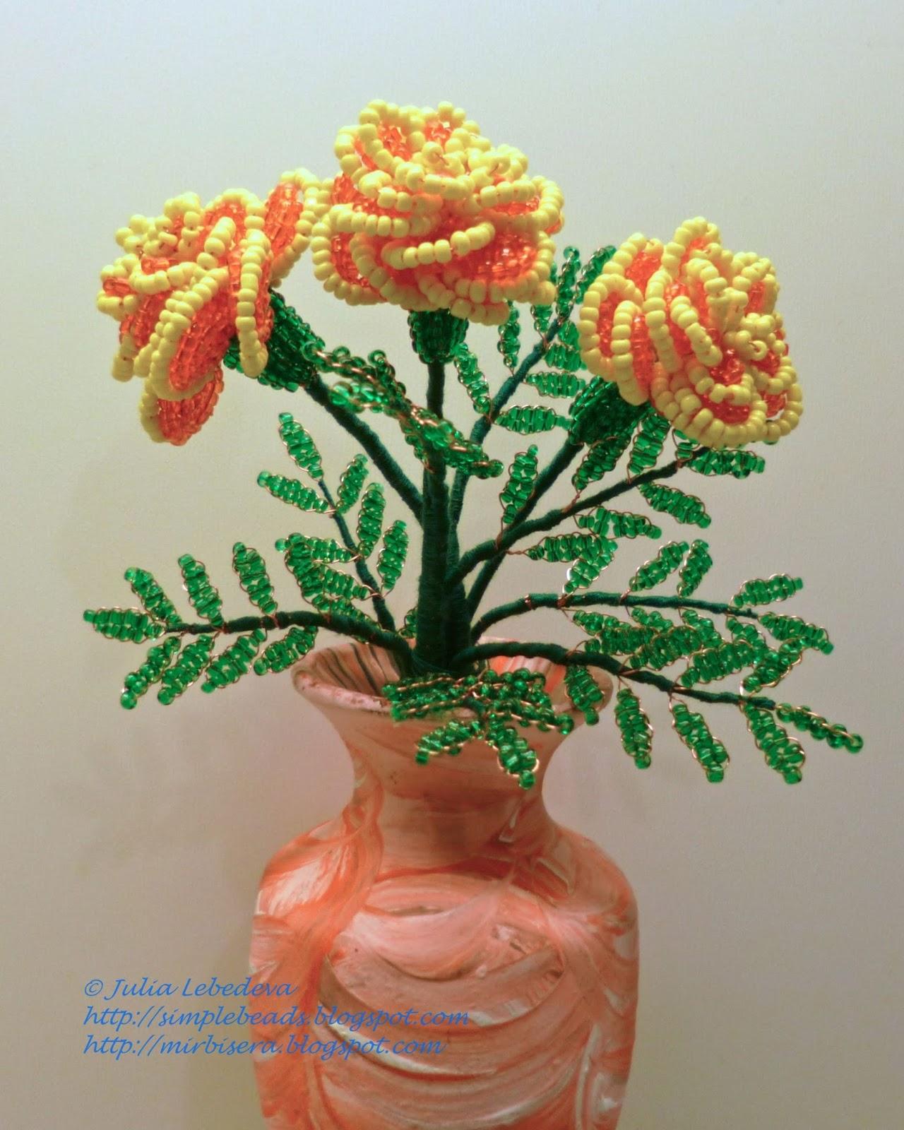 Цветы из бисера своими руками пошагово фото 134