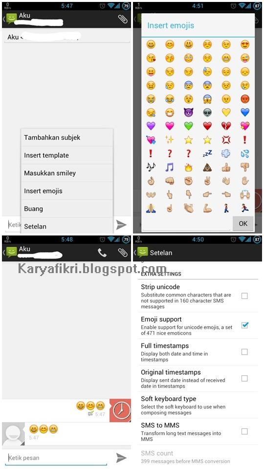 Screenshot hasil penggantian mms.apk dengan mms.apk mod Huawei G600 (karyafikri.blogspot.com)