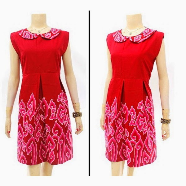 DB3824 Model Baju Dress Batik Modern Terbaru 2014
