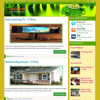 Cool Stuff blogger template. template blog 3 column
