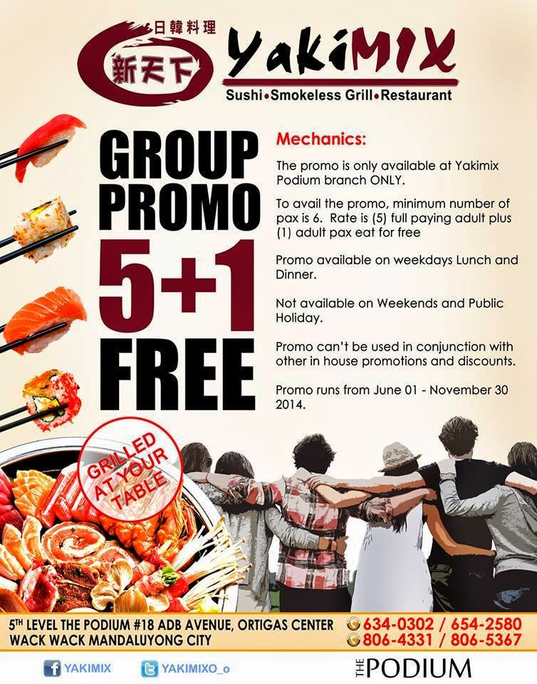 Manila Shopper: Yakimix Podium Group (5+1) Buffet Promo 2014