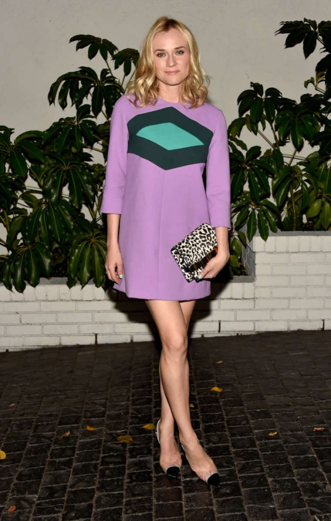 Diane Kruger in a 60s inspired Marni dress at W Magazine's 2015 Golden Globes Celebration in LA