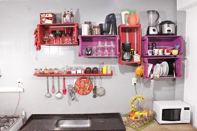 decoração de cozinha com caixotes