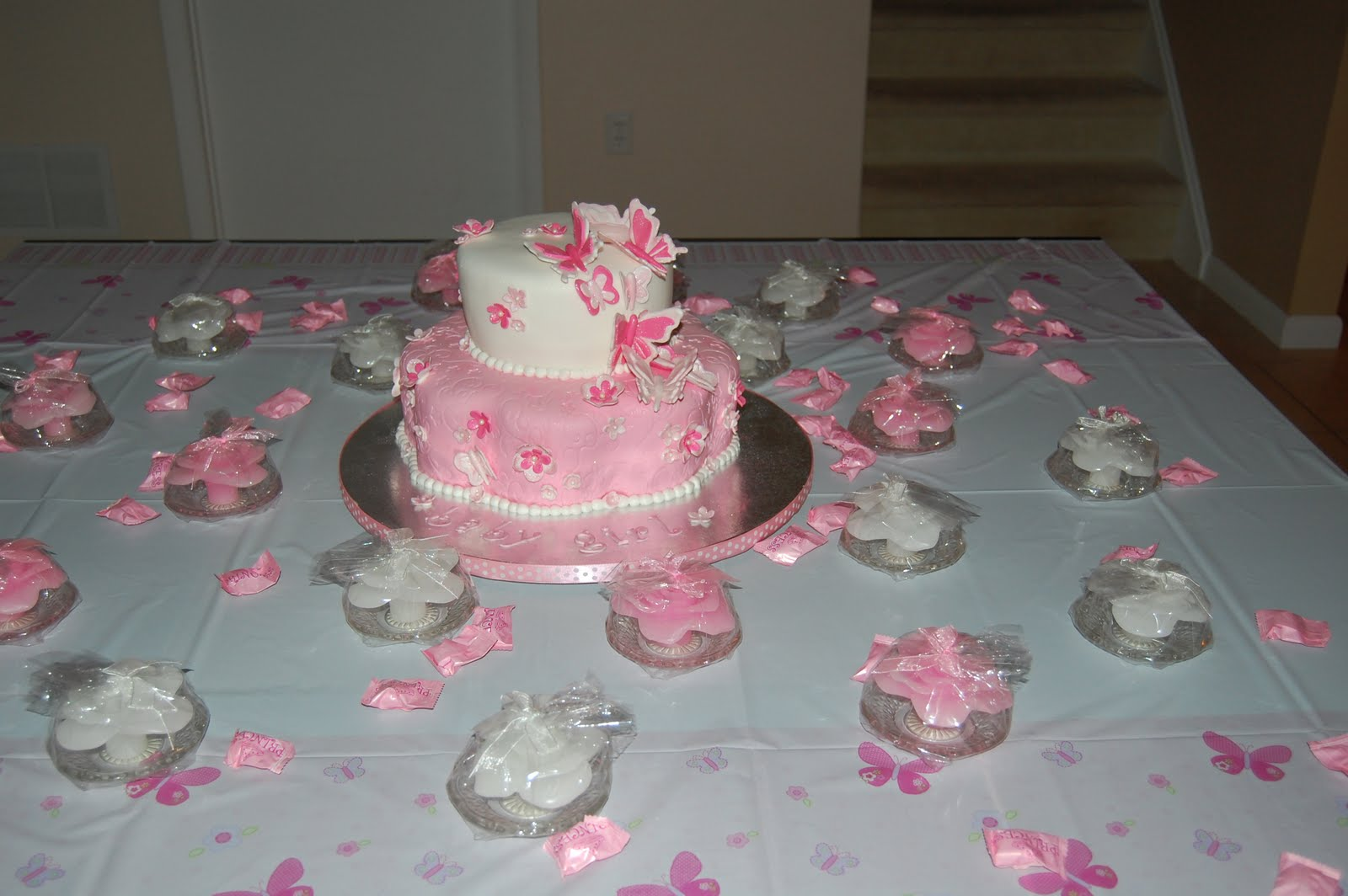 Butterfly baby shower cake ideas cakes by jen pink and white