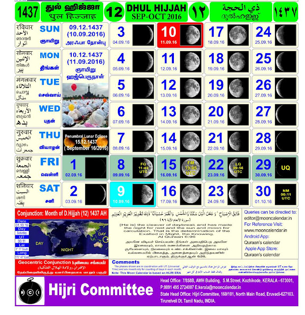 Islamic Month Discussions in English: Hijri Calendar for the year 1437