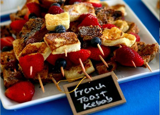 brunch wedding / french toast kebabs.