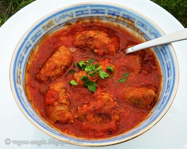Chickpea Walnut Patties in Tomato Sauce