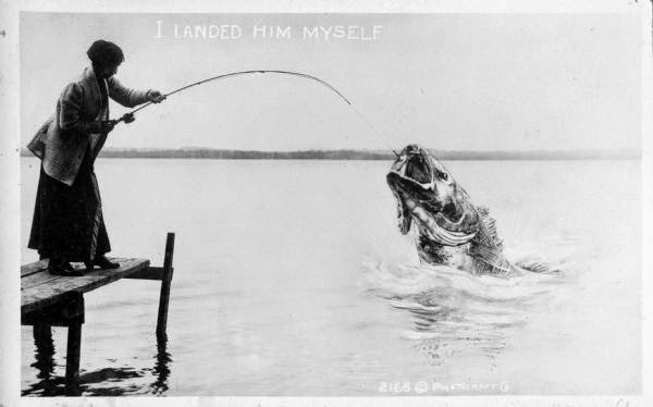 vintage woman fishing