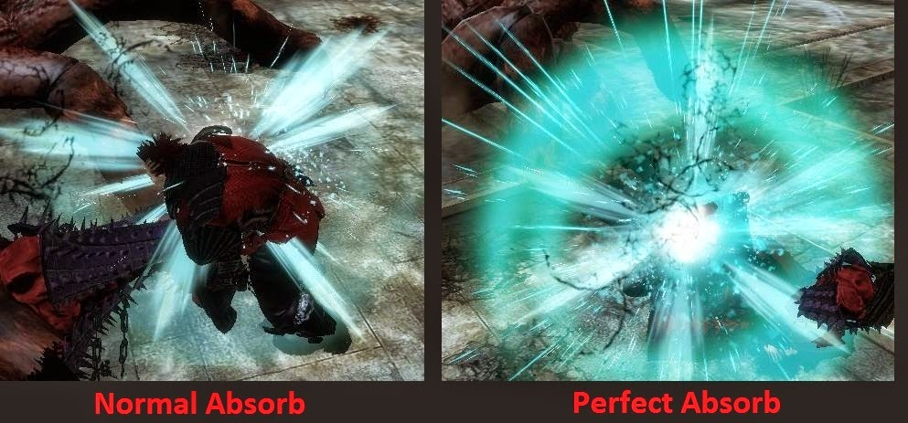 The difference between Normal Absorb Shock and Perfect Absorb Shock.