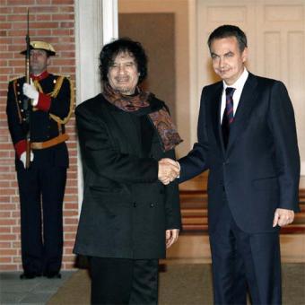 Muamar el Gadafi y Zapatero