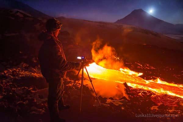 tolbachik volcan con mucha actividad