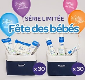 """60 vanitys édition limitée """"Fête des Bébés"""" composés de 3 produits Mustela"""