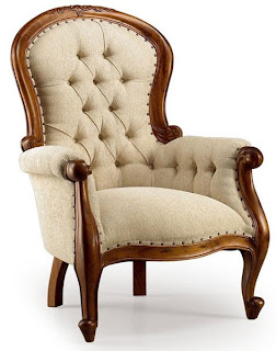 sillon tela capitone, sillon clasico, sillon tela nogal, sillon de salon silleria de comedor