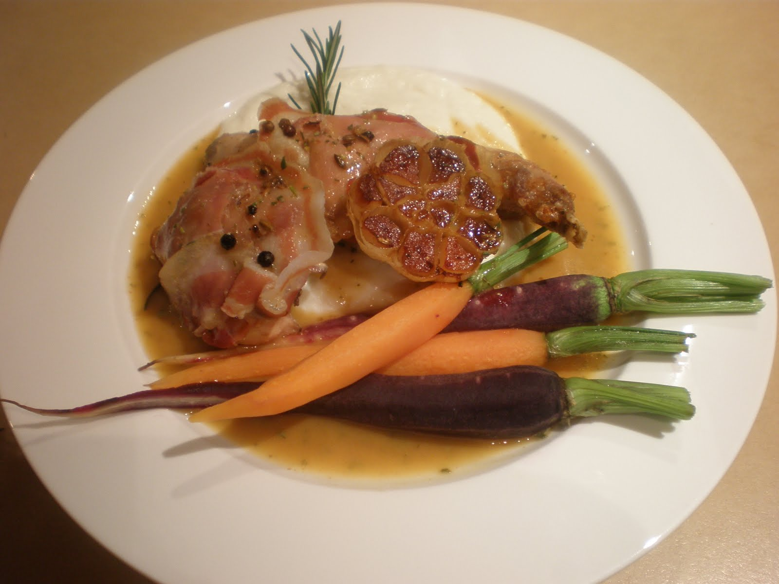 Roast rabbit with pancetta