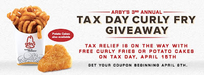 Arby's Tax Day Giveaway - Free Fries