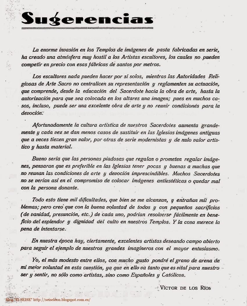 Revista Semana Santa leonesa. 1947. Artículo de Víctor de los Ríos