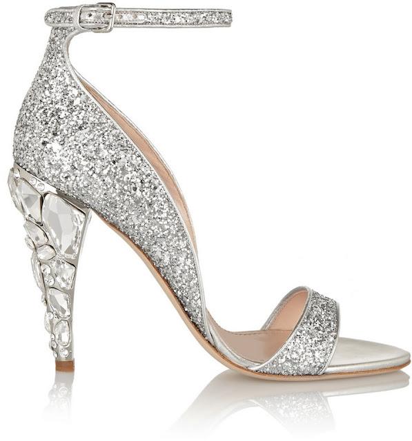Miu Miu Swarovski Crystal-Embellished Glittered Leather Sandals