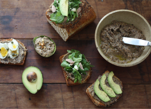 Open Faced Olive Hummus, Arugula & Tuna Sandwiches