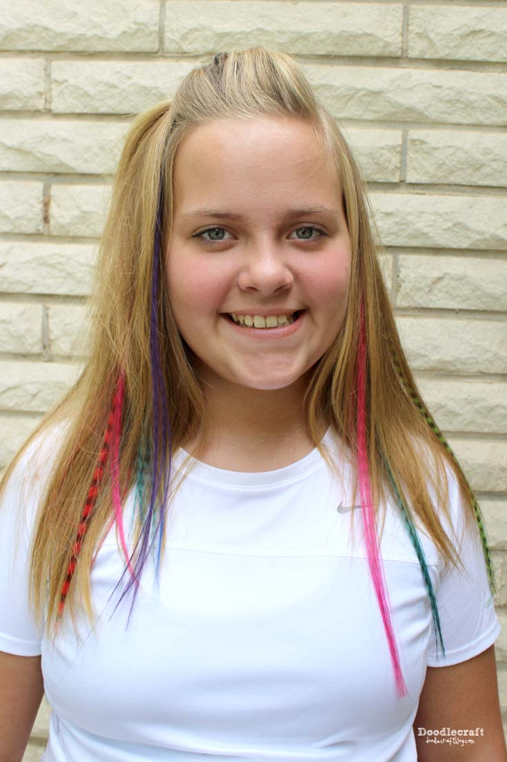 Bright color hair extensions gallery hair coloring ideas doodlecraft feathery hair extensions i filled my daughters hair with about 15 colorful streaks they look pmusecretfo Gallery