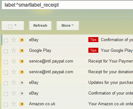 find gmail receipts