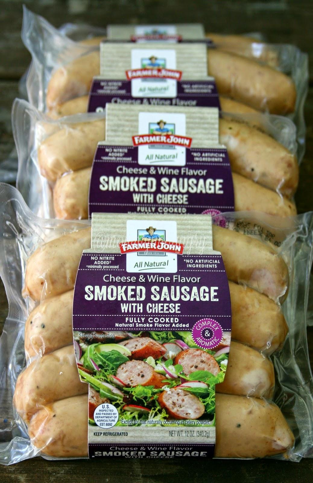 farmer john smoked sausage switcheroo: cheesy scalloped potatoes with sausage and peas #cookwithsausage