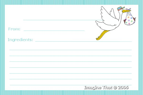 Crafting baby stuff imagine that free baby food recipe cards stork baby boy food recipe card forumfinder Gallery