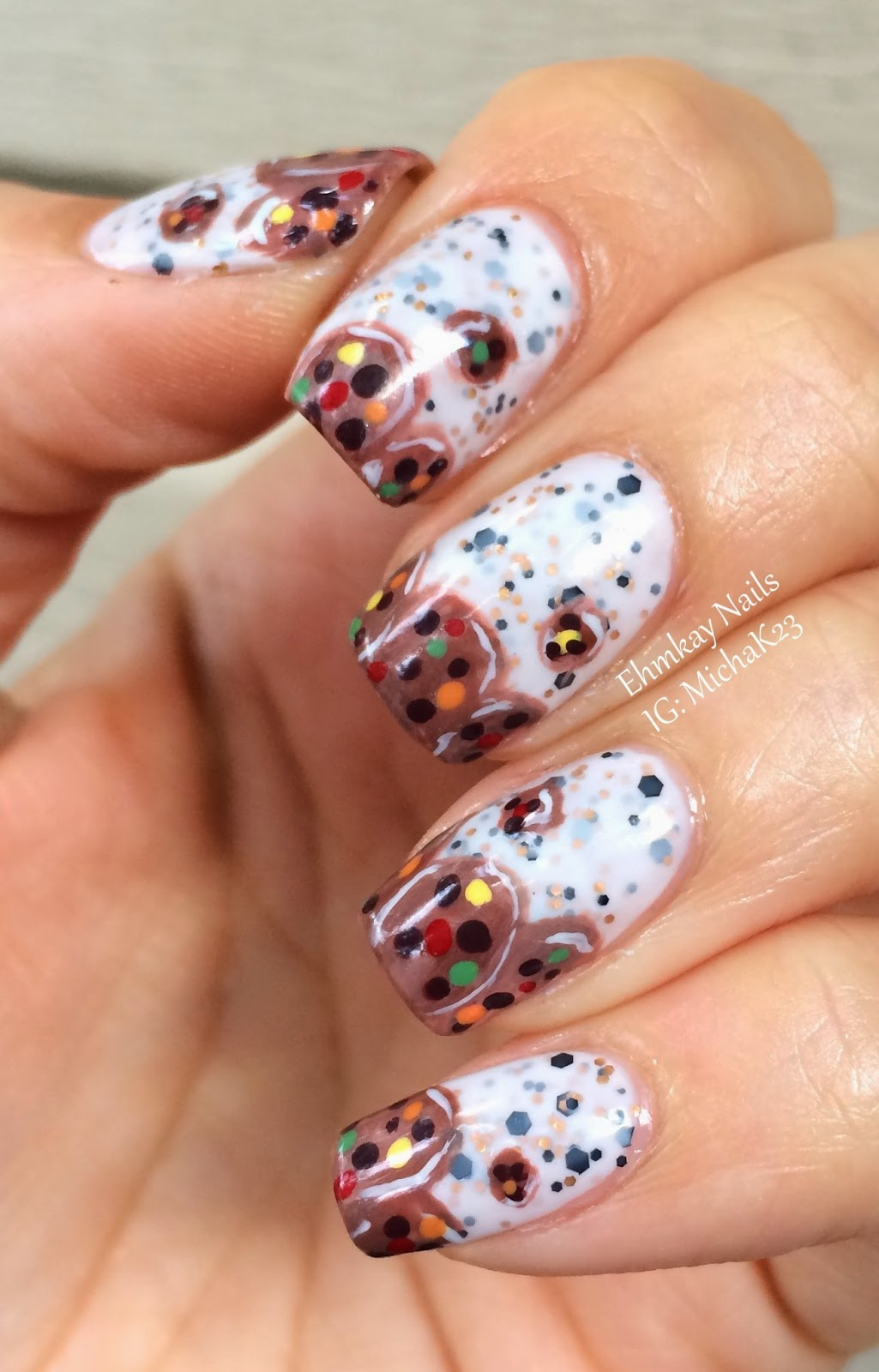 ehmkay nails model city polish cookies milk with cookie nail art. Black Bedroom Furniture Sets. Home Design Ideas