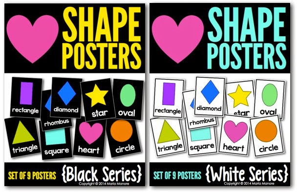 Classroom Shape Posters, available with black OR white background