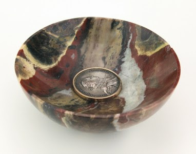 ANTIQUE 19thC RUSSIAN FABERGE AGATE, 56 GOLD & SILVER PLATE COIN BOWL c.1890