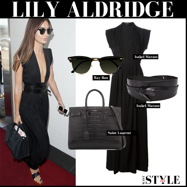 Lily Aldridge in black plunging maxi Isabel Marant Zack dress with black Saint Laurent tote street style