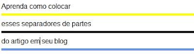 Como colocar linha para separar partes de seus artigos.